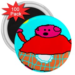 Sweet Pig Knoremans, Art By Kids 3  Button Magnet (100 Pack)