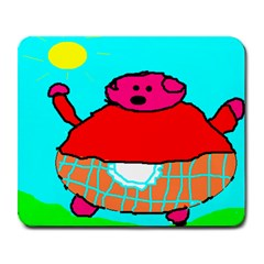 Sweet Pig Knoremans, Art By Kids Large Mouse Pad (rectangle)