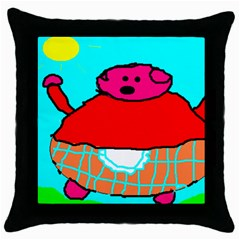 Sweet Pig Knoremans, Art By Kids Black Throw Pillow Case