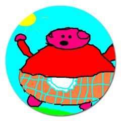 Sweet Pig Knoremans, Art By Kids Magnet 5  (round)