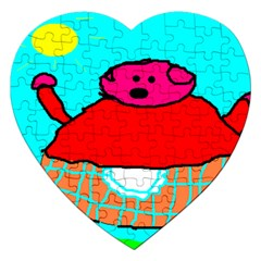 Sweet Pig Knoremans, Art by Kids Jigsaw Puzzle (Heart)