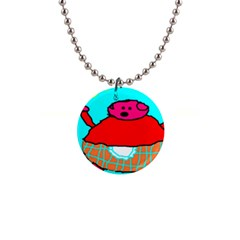 Sweet Pig Knoremans, Art By Kids Button Necklace