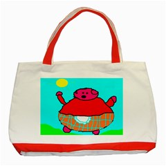 Sweet Pig Knoremans, Art By Kids Classic Tote Bag (red)
