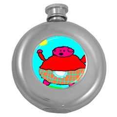 Sweet Pig Knoremans, Art By Kids Hip Flask (round)