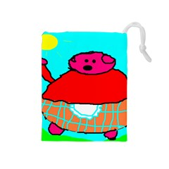 Sweet Pig Knoremans, Art by Kids Drawstring Pouch (Medium)
