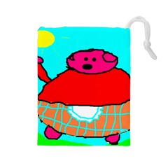 Sweet Pig Knoremans, Art By Kids Drawstring Pouch (large)