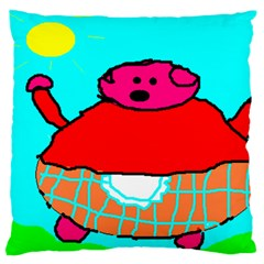 Sweet Pig Knoremans, Art By Kids Large Flano Cushion Case (two Sides)