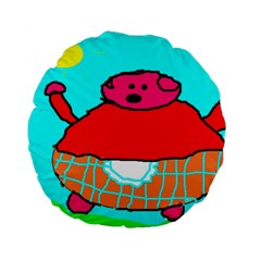 Sweet Pig Knoremans, Art by Kids Standard 15  Premium Flano Round Cushion