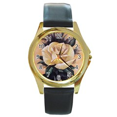 Yellow Rose Round Leather Watch (gold Rim)
