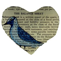 Bird Large 19  Premium Flano Heart Shape Cushion
