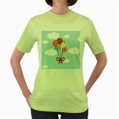 Balloons Women s T-shirt (Green)