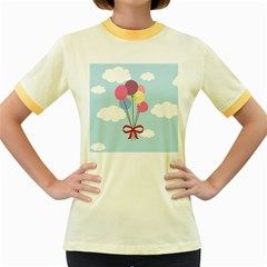 Balloons Women s Ringer T-shirt (Colored)