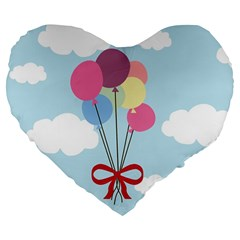 Balloons Large 19  Premium Flano Heart Shape Cushion