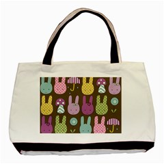 Bunny  Twin Sided Black Tote Bag
