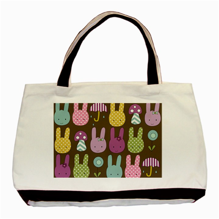 Bunny  Twin-sided Black Tote Bag