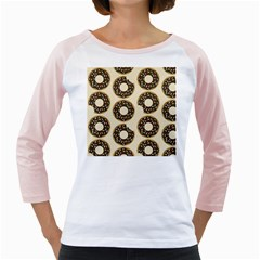 Donuts Women s Long Cap Sleeve T-Shirt (White)