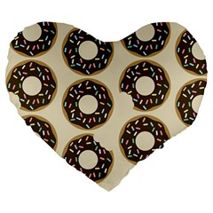Donuts Large 19  Premium Flano Heart Shape Cushion