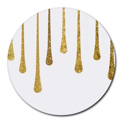 Gold Glitter Paint 8  Mouse Pad (round)