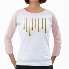 Gold Glitter Paint Women s Long Cap Sleeve T-Shirt (White)