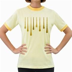 Gold Glitter Paint Women s Ringer T-shirt (Colored)