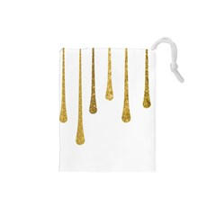 Gold Glitter Paint Drawstring Pouch (Small)