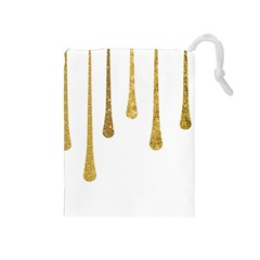 Gold Glitter Paint Drawstring Pouch (Medium)