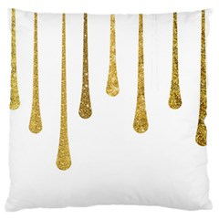 Gold Glitter Paint Large Flano Cushion Case (One Side)
