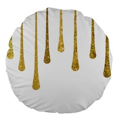 Gold Glitter Paint Large 18  Premium Flano Round Cushion