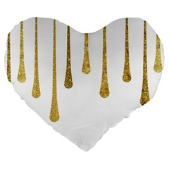 Gold Glitter Paint Large 19  Premium Flano Heart Shape Cushion