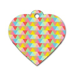 Triangle Pattern Dog Tag Heart (two Sided)