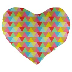 Triangle Pattern Large 19  Premium Flano Heart Shape Cushion