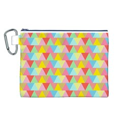 Triangle Pattern Canvas Cosmetic Bag (Large)
