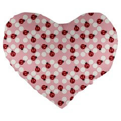 Spot the Ladybug Large 19  Premium Flano Heart Shape Cushion