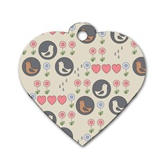Love Birds Dog Tag Heart (One Sided)