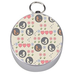 Love Birds Silver Compass