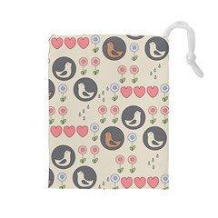 Love Birds Drawstring Pouch (large)
