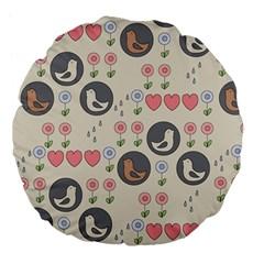 Love Birds Large 18  Premium Flano Round Cushion