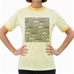 Garden In The Sky Women s Ringer T Shirt (colored)