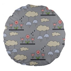 Garden In The Sky Large 18  Premium Flano Round Cushion