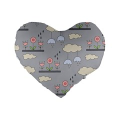 Garden in the Sky Standard 16  Premium Flano Heart Shape Cushion