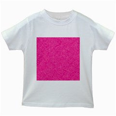 Abstract Stars In Hot Pink Kids T-shirt (White)