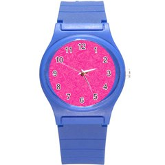 Abstract Stars In Hot Pink Plastic Sport Watch (small)