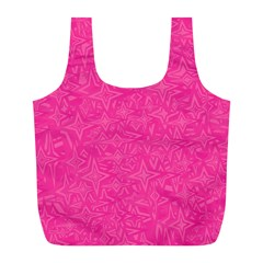 Abstract Stars In Hot Pink Reusable Bag (l)