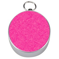 Abstract Stars In Hot Pink Silver Compass