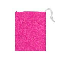 Abstract Stars In Hot Pink Drawstring Pouch (Medium)