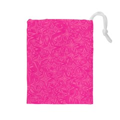 Abstract Stars In Hot Pink Drawstring Pouch (Large)