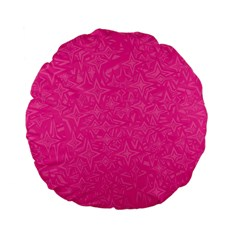Abstract Stars In Hot Pink Standard 15  Premium Flano Round Cushion
