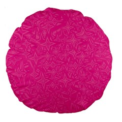 Abstract Stars In Hot Pink Large 18  Premium Flano Round Cushion