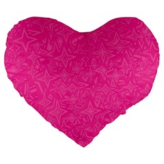Abstract Stars In Hot Pink Large 19  Premium Flano Heart Shape Cushion