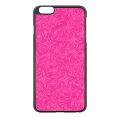 Abstract Stars In Hot Pink Apple iPhone 6 Plus Black Enamel Case